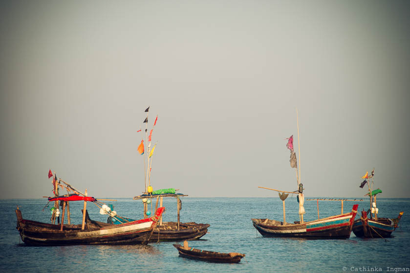 Fishing boats in Ngapali, Burma