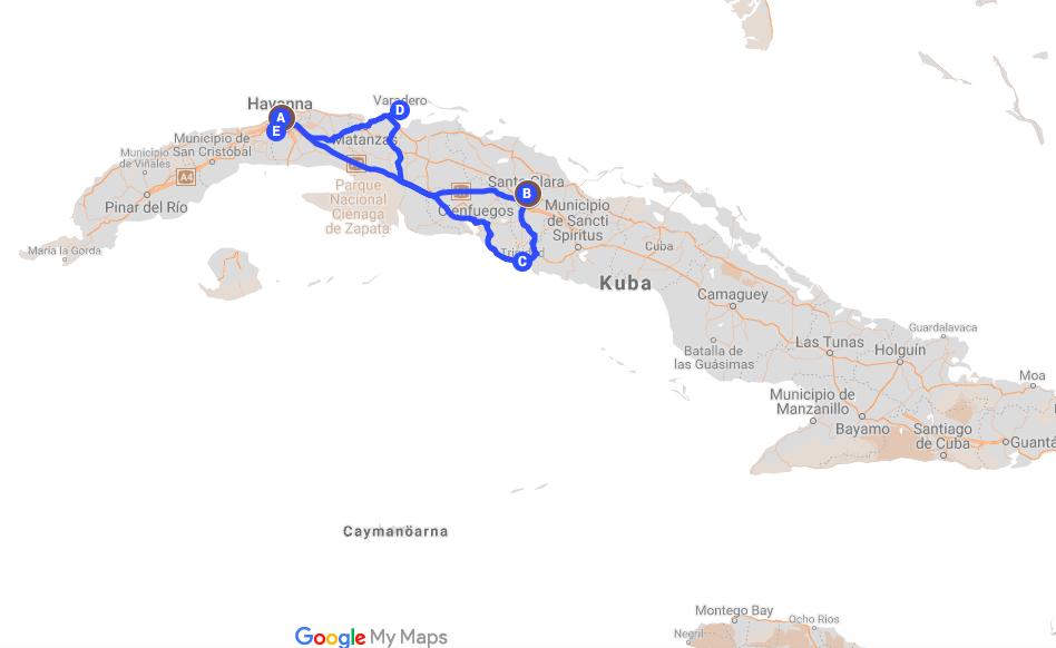 Kuba karta, resa till Kuba, rundresa Kuba